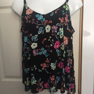 TORRID Black Tank Top w/ Colorful Flowers Size 2X
